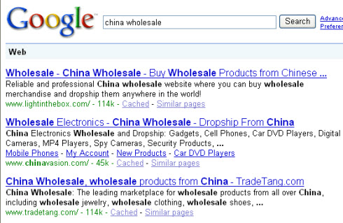 China wholesale search result