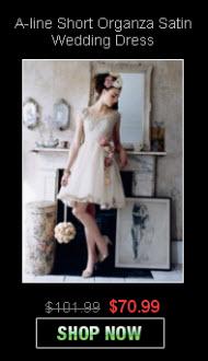 A-line Short Organza Satin Wedding Dresses