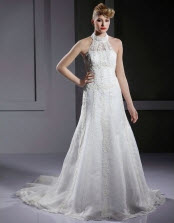 A-line High Neck Sweep Train Wedding Dresses