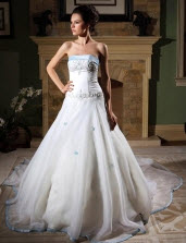 Ball Gown Strapless Organza Wedding Dresses