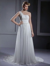 One-Shoulder Court Train Wedding Dresses