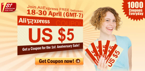 Signup Coupon for AliExpress 1st Anniversary Sale