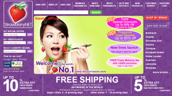 Online Cosmetic Shop Strawberrynet.com