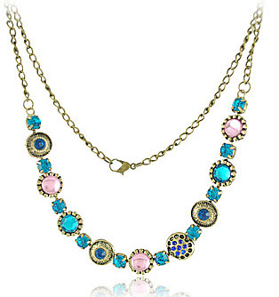 Rhinestone in Gold Alloy Necklaces