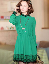 Ruffle Long Sleeve Sweet Dress for Women