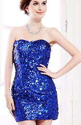 Strapless Sequined Short Paillette Cocktail Dress