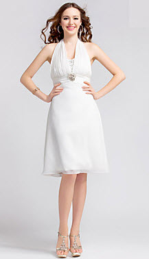 A-line Halter Chiffon College Graduation Dress