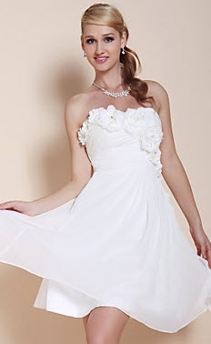 A-line Strapless Flower Decor College Graduation Dress