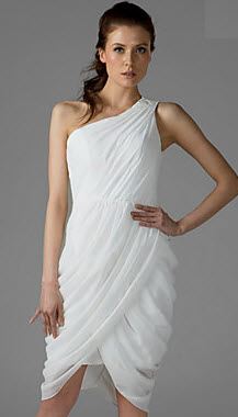 Sheath Column One Shoulder Chiffon Graduation Dress for College