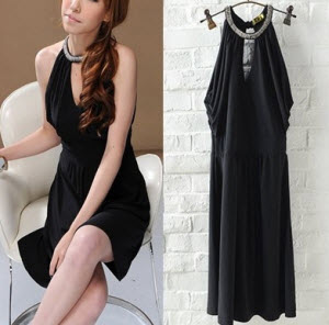 Tiantian Sexy Cut Shoulder Littble Black Dress