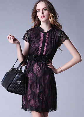 TS Lace Contrast Color Lining Dress