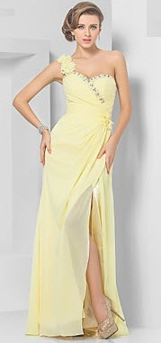 Sheath Column One-Shoulder Chiffon Evening Dress at Lightinthebox