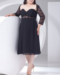 2013 Style Black Lace Cut Out Half-Sleeve Plus Size Cocktail Dress