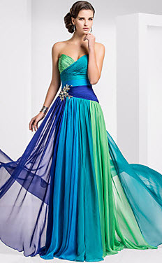 Sheath Column Sweetheart Chiffon Floor Length Evening Dresses