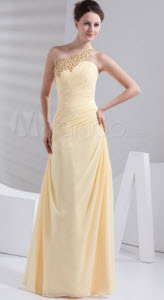 Daffodil Chiffon One Shoulder Prom Dress