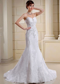 Lace Mermaid Strapless Organza Satin Wedding Dress