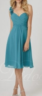 One Shoulder Chiffon Flower Bridesmaid Dress