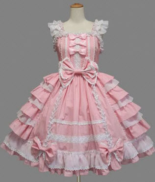 Pink Bow Multi-layer Cotton Lolita Dress