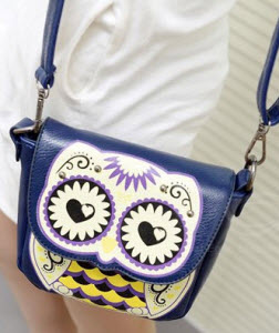 Women's Casual Owl Pattern PU Leather Shoulder Bag