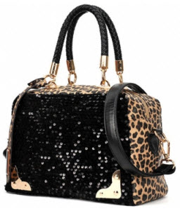 Leopard Print Sequined Embellished Distinctive Satchel Bags