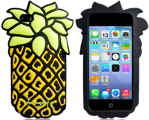 3. 3D Pineapple Design Silicone Case for iPhone 5/5S