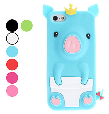 3D Design Cute Pig Pattern Soft Case for iPhone 5/5S