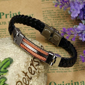 Men's Stainless Steel Weave Chain Leather Bracelets