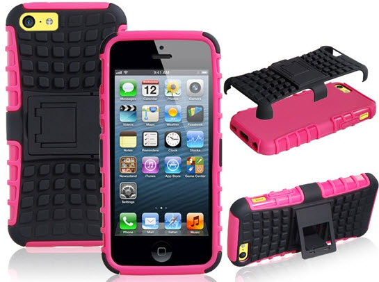 TPU Plastic Stand Protective Case 2pc Set for iPhone 5C