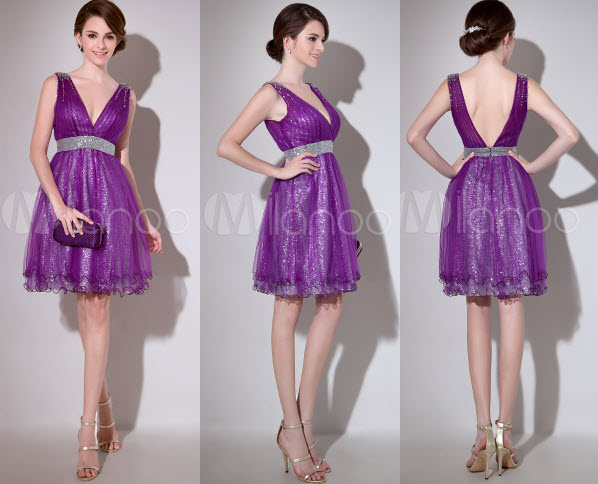 Lavender A-line Sequin V-Neck Sleeveless Tulle Cocktail Dress