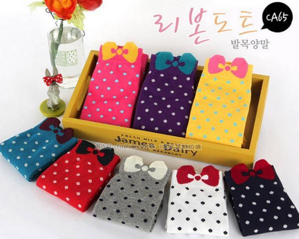 Girls Lovely Bowknot Polka Dot Print Casual Socks