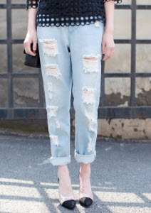 trendy jeans with cut outs