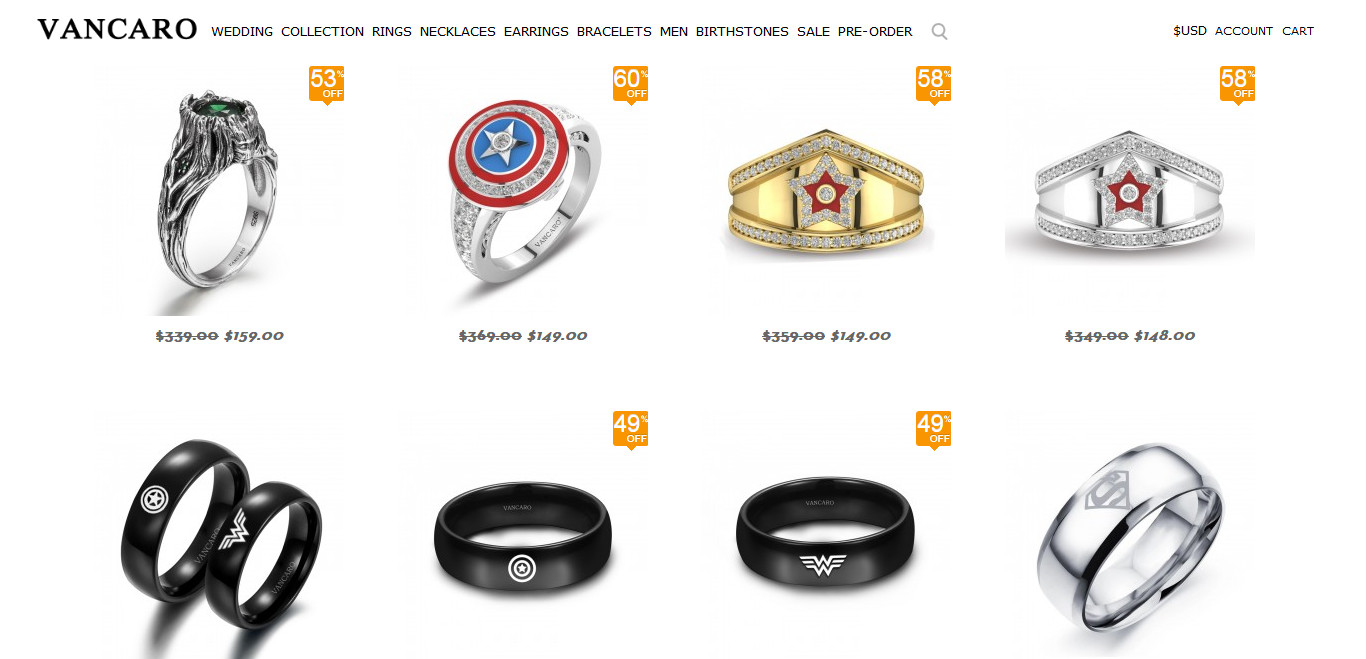 Vancaro Super hero rings
